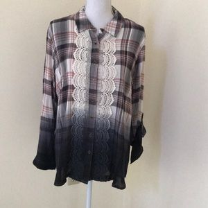TANTRUMS Size XL plaid ombré Button Down Top